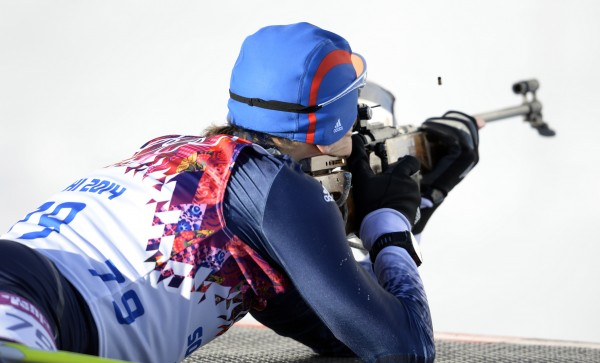 Maine native Russell Currier during the men's individual 20-kilometer biathlon at the Sochi 2014 Olympic Winter Games at Laura Cross-Country Ski and Biathlon Center.