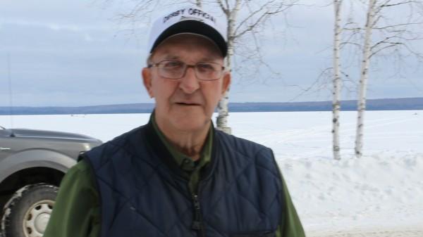 Herbert Carey, 85, of Milo has been volunteering at the Schoodic Lake Ice Fishing Derby for all 52 years the derby has been run by the Milo Fire Department.