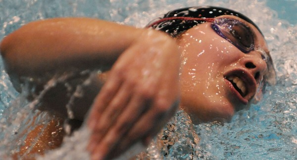 Bangor's Natalie Fournier competes in the 400 freestyle relay during the Maine High School Girls Class A State Swimming and Diving Championships on Saturday at Orono. The Bangor team took second place with a time of 3:45.66.