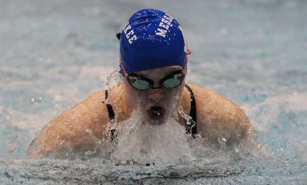Messalonskee's Kristy Prelgovisk competes in the 100 breaststroke during the Maine High School Girls Class A State Swimming and Diving Championships on Saturday at Orono. Prelgovisk won with a time of  1:06.16.