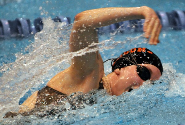 Brunswick's Emma Blair competes in the 200 freestyle  relay during the Maine High School Girls Class A State Swimming and Diving Championships on Saturday at Orono. The Brunswick team won with a time of 1:42.56.