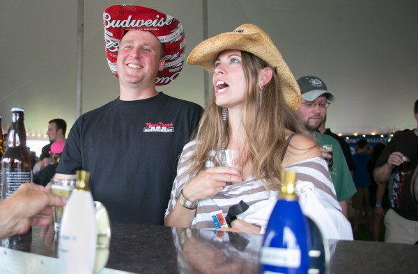 Trapper St. Jean (left) and his wife Allison travelled from Beaver Cove to taste the selection at the Tap Into Summer Bangor Beer Festival on Saturday, June 22.