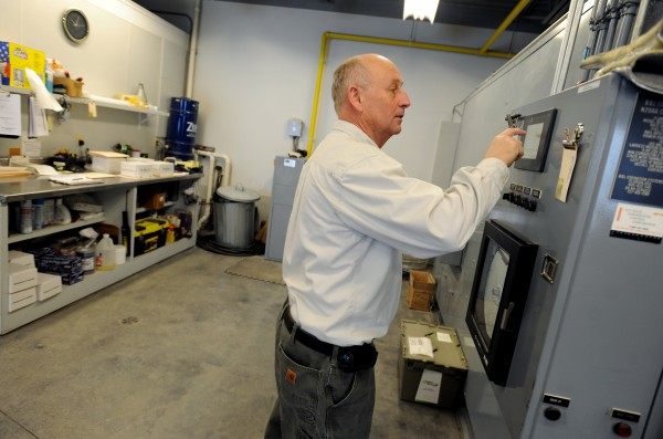 Gary Sirois, manager of Pine Grove Crematorium, operates the two machines in the crematory.