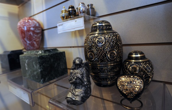 A variety of urns available at Pine Grove Crematorium.