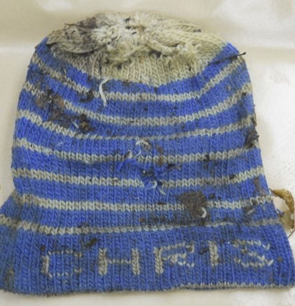 This hat was among the clothing found on a body discovered in Stacyville in 2010.