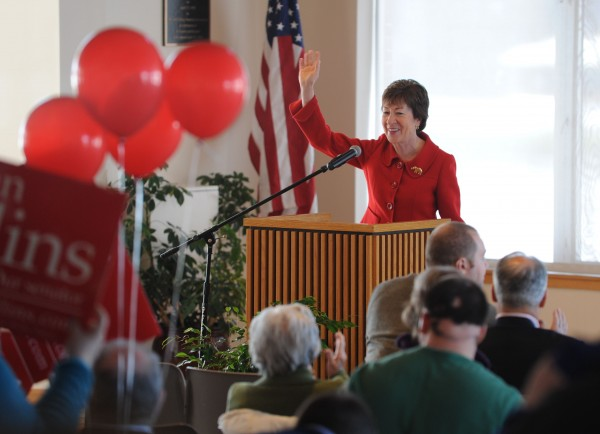 Sen. Susan Collins addresses the Republican caucus Saturday at Husson University in Bangor.