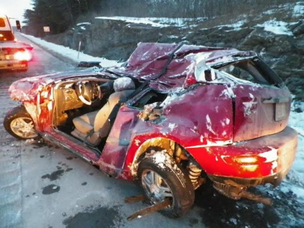 An Old Town woman was critically injured Sunday afternoon when her Ford Focus left I-95 in Hermon, struck a ledge and rolled over.