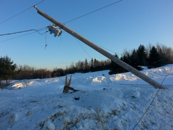 This utility pole was damaged in a Saturday morning accident on Benedicta Road in Sherman, according to Maine State Police. Nichole Goguen, 18, of Houlton, was driving her parents' 2004 Ford pickup truck south on the road when it went off the pavement and struck this utility pole, police said.