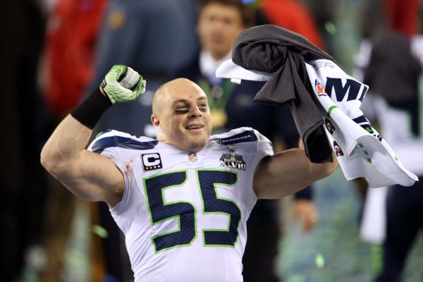 Seattle Seahawks linebacker Heath Farwell (55) celebrates after Super Bowl XLVIII against the Denver Broncos at MetLife Stadium in East Rutherford, N.J., Sunday night.