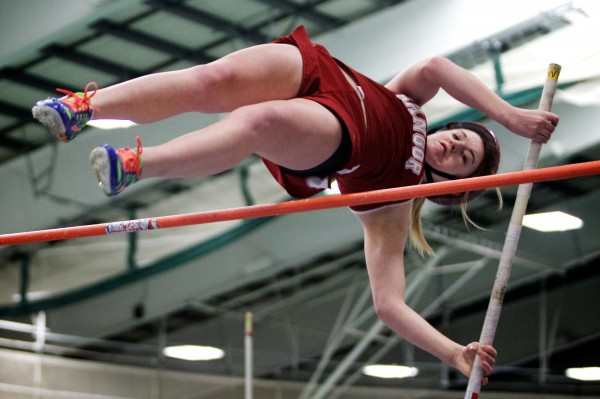 Abby Reynolds of Bangor High School demonstrates her pole-vaulting form during the Class A indoor state championships in February 2013. On Saturday, the senior set a PVC-EMITL record in the event.