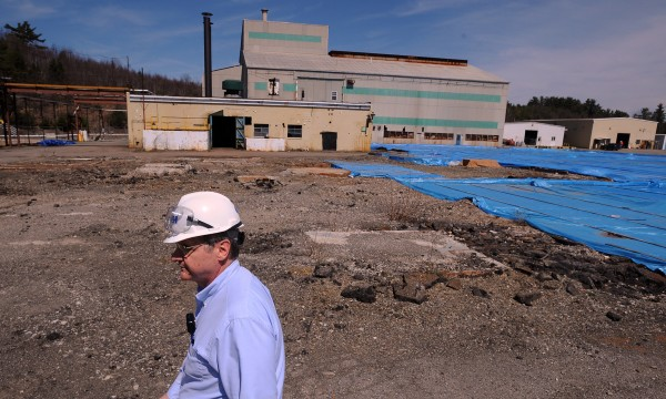 Site manager Dave Tonini of the contracting firm CDM walksthrough the former HoltraChem facility in Orrington in 2008 where, among other materials, large amounts of mercury were used to manufacture chemicals for papermaking and other industries.