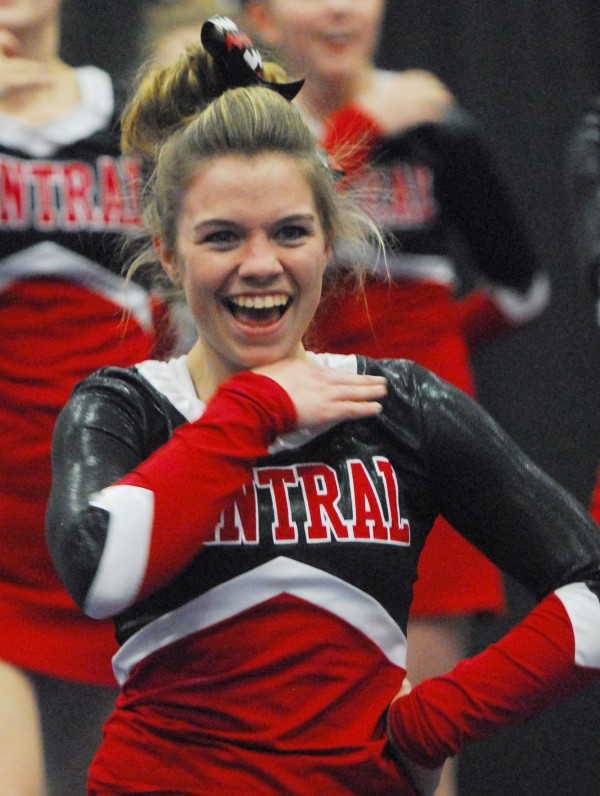 Central High School's Hillary Williams cheers with the team during the Class C State Cheering Championship at the Augusta Civic Center on Saturday.