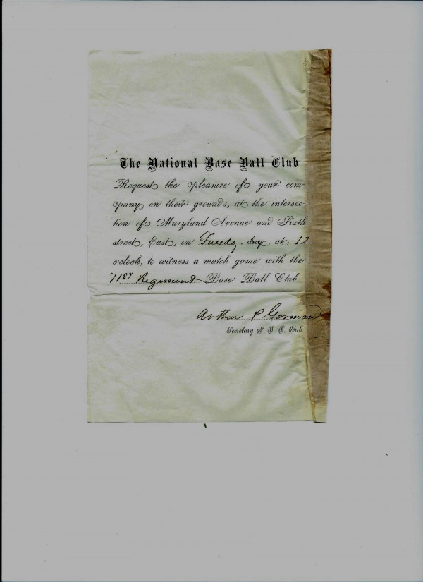 National Base Ball Club President Arthur Gorman handed invitations out to the public to drum up attendance at an 1862 game against a Civil War regiment. This item and several others from that game will be auctioned off this month by Saco River Auction Co. in Biddeford.