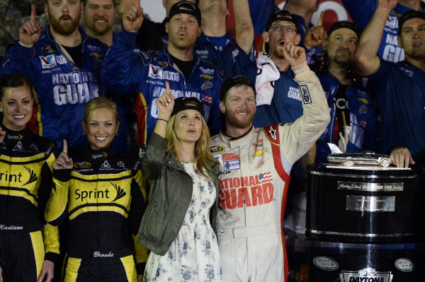 NASCAR Sprint Cup driver Dale Earnhardt celebrates winning the  Daytona 500 with his girlfriend Amy Reimann at Daytona International Speedway Sunday night.