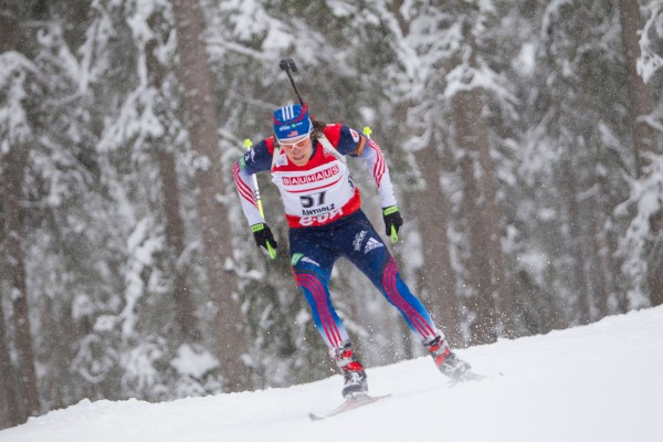 Russell Currier, a  member of the US Olympic biathlon team, competes in an IBU World Cup biathlon event on Jan. 17 in Antholz, Italy.