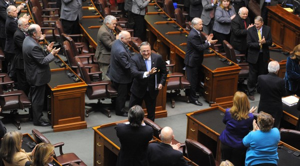 Gov. Paul LePage (center) leaves the House of Representatives chamber after he delivered his 2014 State of the State address at the State House in Augusta on Tuesday evening.