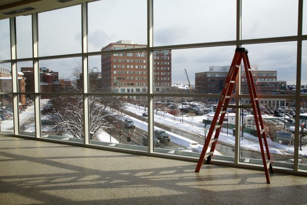 A new window on the concourse in the Cumberland County Civic Center looks out onto Spring and Center Streets.