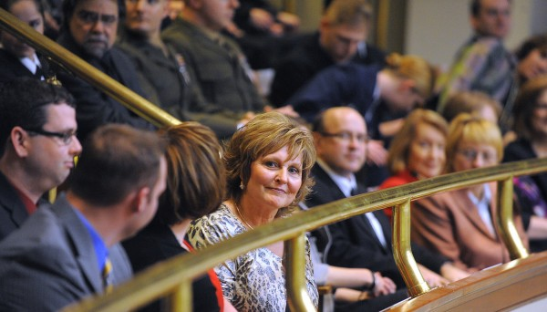 Maine's first lady Anne LePage (center) was among the guests in the balcony of the House of Representatives chamber during Gov. Paul LePage's 2014 State of the State address at the State House in Augusta on Tuesday evening.