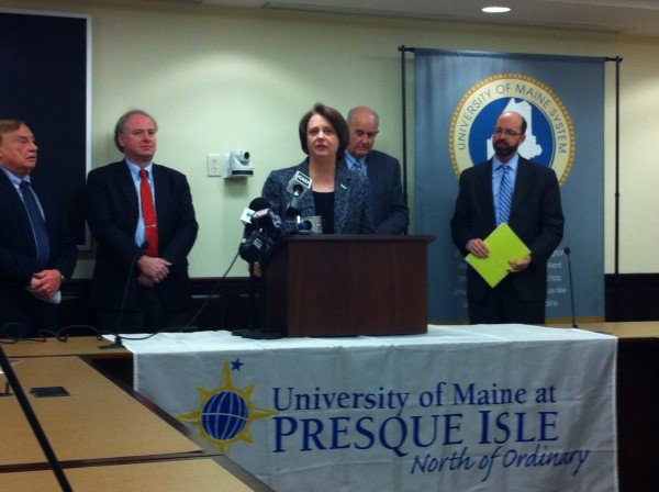Officials met at the University of Maine System office to announce the University of Maine at Presque Isle's transition to proficiency-based education. Pictured here are former Maine Department of Education commissioner Duke Albanese, UMS chancellor James Page, UMPI president Linda Schott, Maine DOE commissioner Jim Rier and Yellow Light Breen, a board member at Educate Maine.