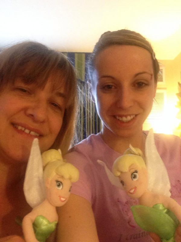 Crystal Wiley and Katherine Newman hold stuffed Tinker Bell dolls that Disneyland officials gave them after they were attacked by a stranger at their hotel in Anaheim last month. Friends have organized fundraisers to help the pair with medical bills resulting from the attack.