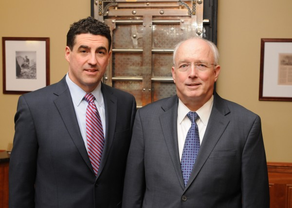 Bangor Savings Bank on Tuesday morning announced the retirement of its CEO, James Conlon (right) and named a successor, Robert S. Montgomery-Rice (left), who will next year take the reins of Maine's largest locally owned bank.
