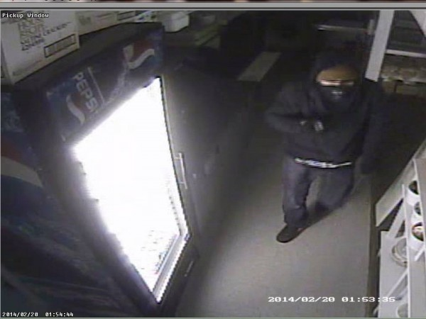 Surveillance footage shows a male suspect who broke into Angler's Restaurant in Hampden early Thursday morning.