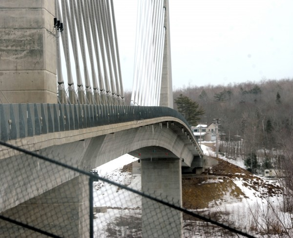 A view of the railing along the Penobscot Narrows Bridge.