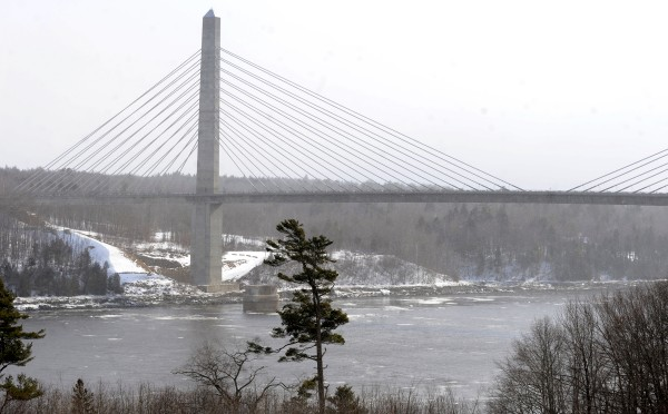 A view of the Penobscot Narrows Bridge.
