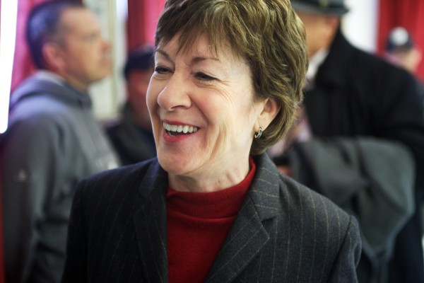 Sen. Susan Collins was presented with hundreds of thank you letters at Local S6 union headquarters in Bath on Tuesday. Union members thanked her for her work on the Senate Appropriations Committee.