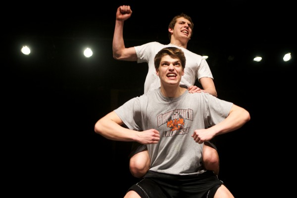 Brunswick High School seniors Reece Reed (above) and Elliot Boyd ham it up as Jets during a rehearsal for &quotWest Side Story&quot in Crooker Theater on Thursday. The pair are also varsity athletes.