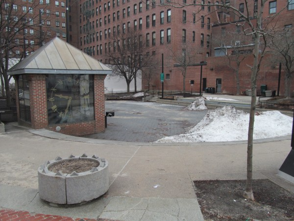 Portland's Congress Square Park, as it appeared on Jan. 16. The City Council approved a sale of 9,500 square feet of the publicly owned space to a private hotel developer in September.