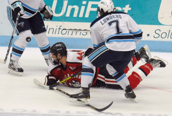 In this March 2013 file photo, Northeastern's Dax Lauwers falls on the ice as he battles for the puck with the University of Maine's Ryan Lomberg in Orono. The Black Bears and the Huskies will square off in a two-game set 7 p.m Friday and Saturday nights, at Northeastern's Matthews Arena in Boston.