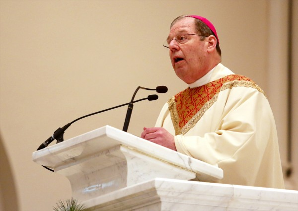 Bishop Robert Deeley addresses the congregation at the Cathedral of the Immaculate Conception in Portland after being installed as the 12th bishop of the Roman Catholic Church of Maine, in Portland on Friday.
