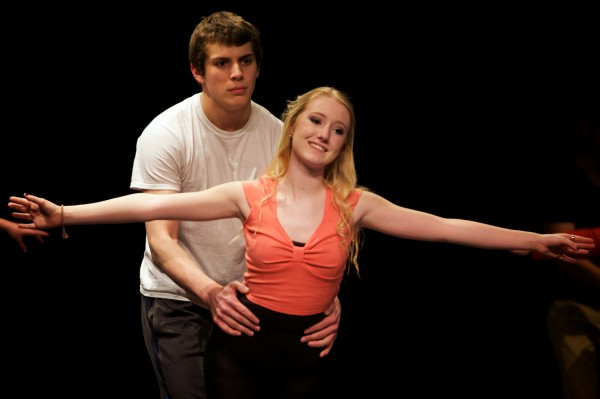 Lilly Gardiner dances with Reece Reed during a rehearsal for &quotWest Side Story&quot at Brunswick High School on Thursday.