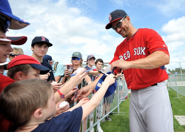 Boston Red Sox outfielder Grady Sizemore (38) signs autographs during spring training at JetBlue Park.