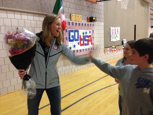 Olympic swimmer Jenny Thompson, who now lives in Kennebunk, visited Sea Road School there Friday.