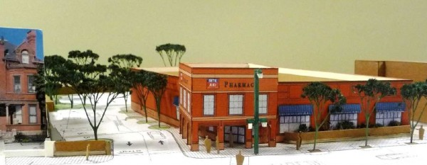 This image depicts an architect's model of the 11,000-plus-square-foot Rite Aid pharmacy developers hope to build at 713 Congress St., where a 7,000-square-foot version of the drugstore now stands.