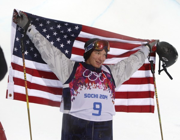 David Wise of the US celebrates after winning gold in men's ski halfpipe during the Sochi 2014 Olympic Winter Games at Rosa Khutor Extreme Park on Tuesday.