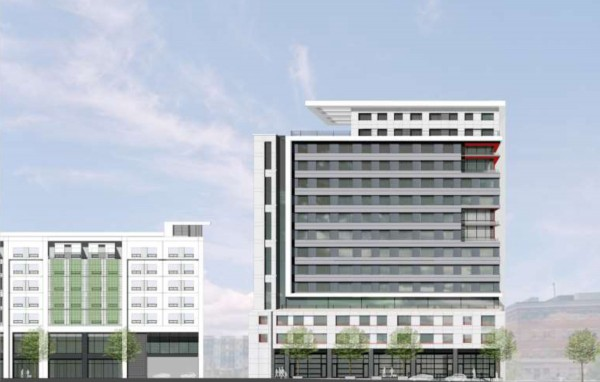 A rendering of the first phase of the proposed Midtown complex in Portland's Bayside neighborhood, showing the first of four apartment towers (right) along Somerset Street.