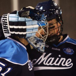 Maine's Higgins may miss UMass-Lowell series after injuring his leg blocking a shot