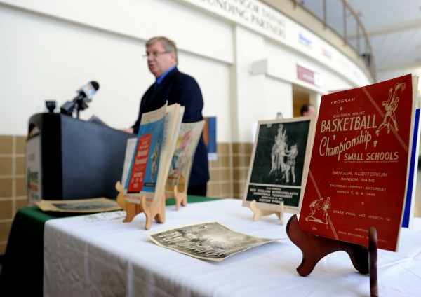 Steve Pound, chairman of the Maine Basketball Hall of Fame board of directors, speaks at a media event on Wednesday where it was announced the hall will have a permanent exhibit in the Cross Insurance Center.