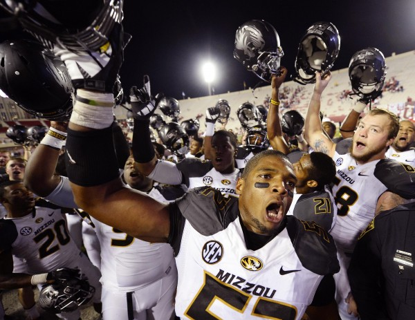 Missouri Tigers defensive lineman Michael Sam (52) reacts after the game at Memorial Stadium after Missouri defeated Indiana 45-28 in Bloomington, Ind., in this file photo from Sept. 21, 2013.