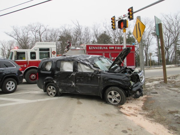 On Monday, a woman and two children were injured when the woman's Honda Pilot was involved in a rollover car crash in Kennebunk, police said.