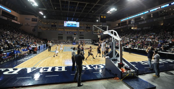 Houlton's boys take on Penquis's boys during Class C action on Friday at the Cross Insurance Center.