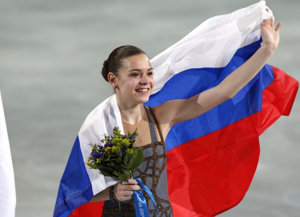 Adelina Sotnikova of Russia reacts after placing first in the wonen's free skate program during the Sochi 2014 Olympic Winter Games at Iceberg Skating Palace on Thursday.