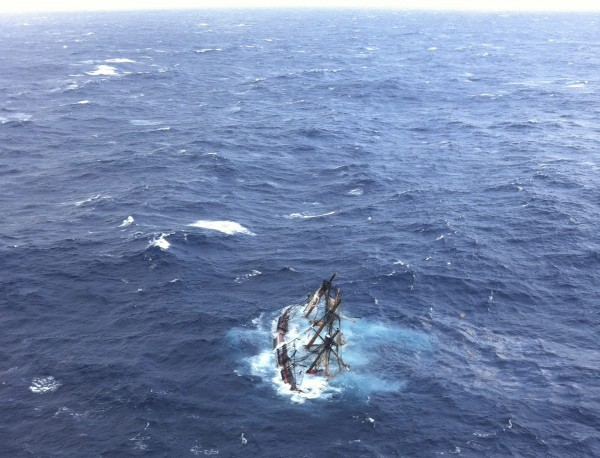 The HMS Bounty, a 180-foot sailboat, is shown submerged in the Atlantic Ocean during Hurricane Sandy approximately 90 miles southeast of Hatteras, N.C., in this U.S. Coast Guard handout picture taken Oct. 29, 2012.
