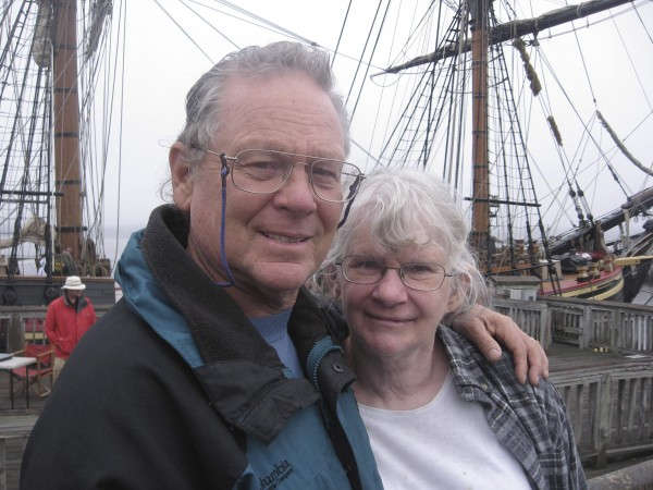 Capt. Robin Walbridge with his sister Lucille Jansen in front of HMS Bounty, at Fall River, Massachusetts is seen in this May 2010 handout photo courtesy of the Walbridge family and supplied to Reuters Nov. 2, 2012.