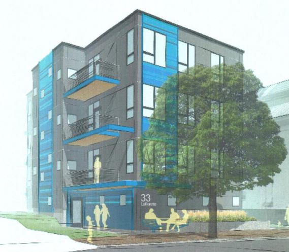 Developers hope to construct this condominium building, depicted in an early rendering by Bild Architecture, where an African immigrant church once stood. Developers have since swapped out the blue color scheme with a terra cotta coloring.