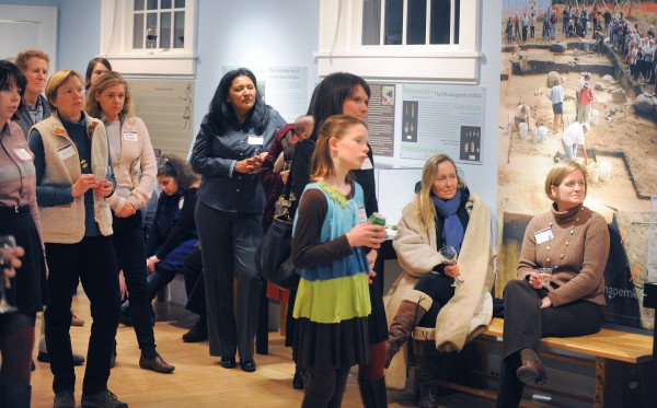 People attend the opening of the Twisted Path exhibition at the Abbe Museum in Bar Harbor Thursday.