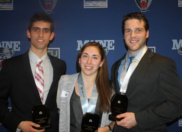 Kelton Cullenberg, Holly Stewart and Marcus Wasilewski of the University of Maine were honored Tuesday night as the recipients of the 2014 &quotM&quot Club Dean Smith Awards. The recognition goes to the school's top male and female student-athletes.